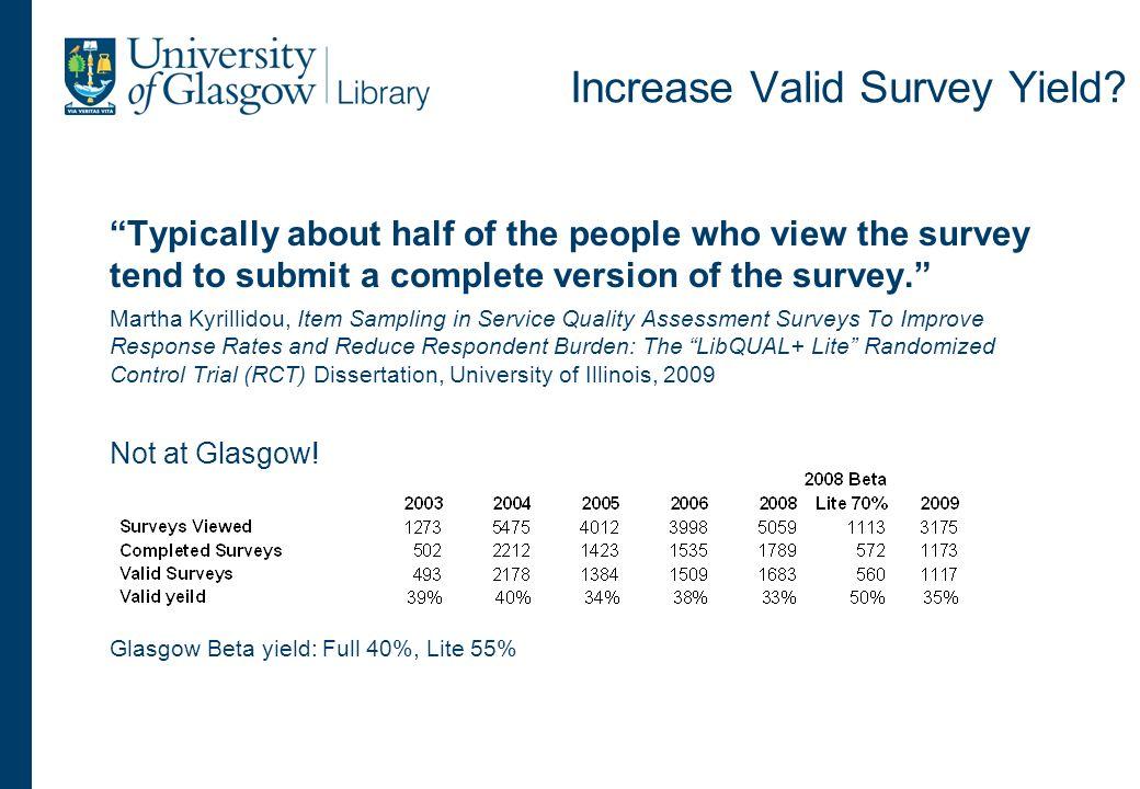 Increase Valid Survey Yield.