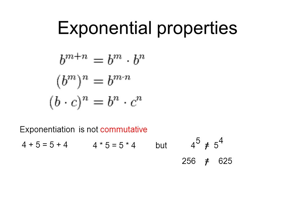 Exponentiation is not commutative 4 + 5 = 5 + 4 4 * 5 = 5 * 4but4 = 5 5 4 256 = 625