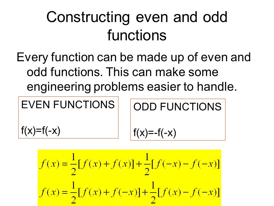 Constructing even and odd functions Every function can be made up of even and odd functions.