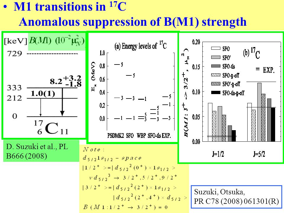 M1 transitions in 17 C Anomalous suppression of B(M1) strength D.