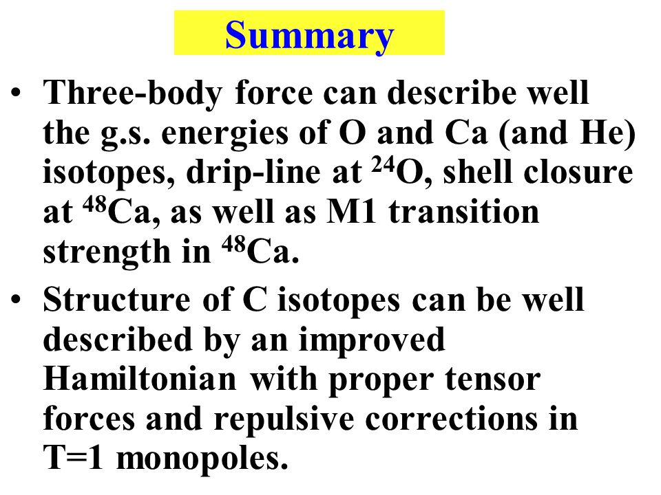 Summary Three-body force can describe well the g.s.
