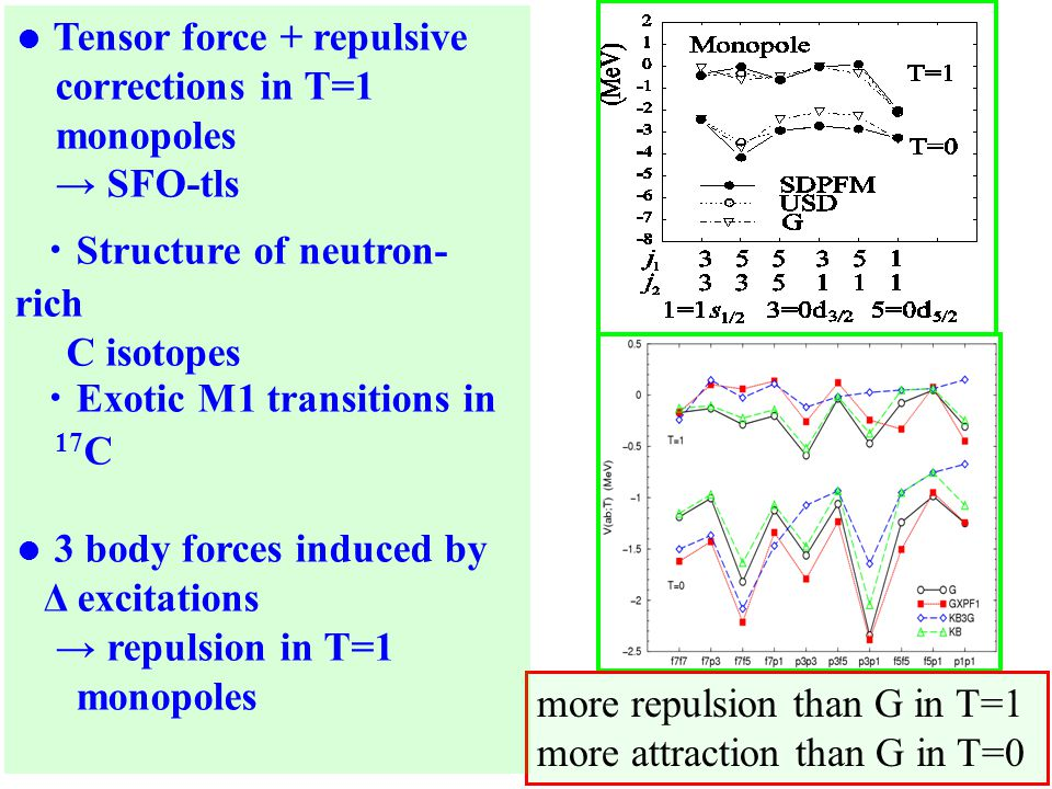 more repulsion than G in T=1 more attraction than G in T=0 ● Tensor force + repulsive corrections in T=1 monopoles → SFO-tls ・ Structure of neutron- rich C isotopes ・ Exotic M1 transitions in 17 C ● 3 body forces induced by Δ excitations → repulsion in T=1 monopoles