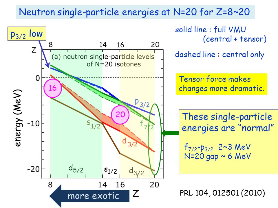 Neutron single-particle energies at N=20 for Z=8~20 Z 8 14 Z 16 20 These single-particle energies are normal f 7/2 -p 3/2 2~3 MeV N=20 gap ~ 6 MeV energy (MeV) d 5/2 s 1/2 d 3/2 16 20 solid line : full VMU (central + tensor) dashed line : central only p 3/2 low Tensor force makes changes more dramatic.