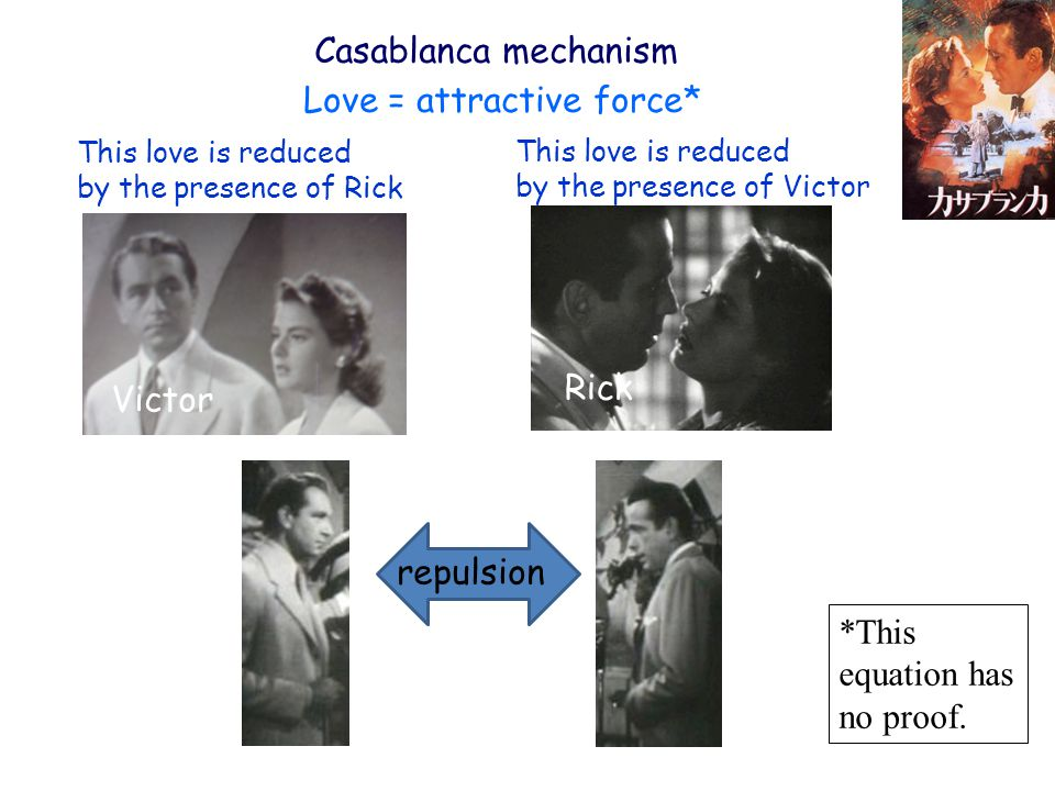 Casablanca mechanism Rick Victor This love is reduced by the presence of Rick This love is reduced by the presence of Victor repulsion Love = attractive force* *This equation has no proof.