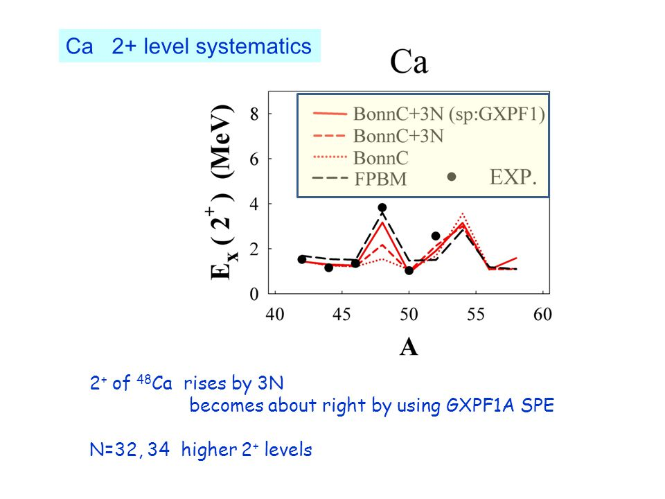 Ca 2+ level systematics 2 + of 48 Ca rises by 3N becomes about right by using GXPF1A SPE N=32, 34 higher 2 + levels