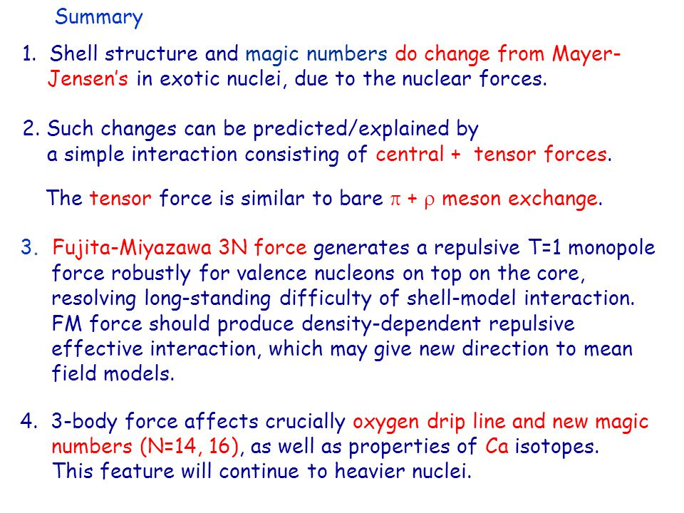Summary The tensor force is similar to bare  +  meson exchange.