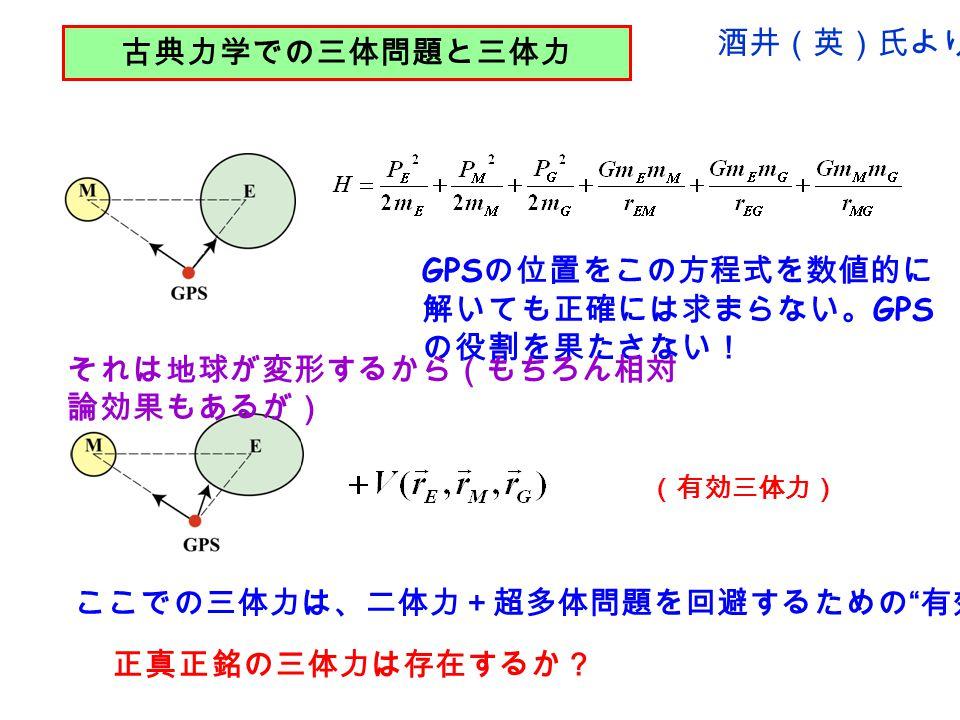 古典力学での三体問題と三体力 (有効三体力) ここでの三体力は、二体力+超多体問題を回避するための 有効 相互作用.