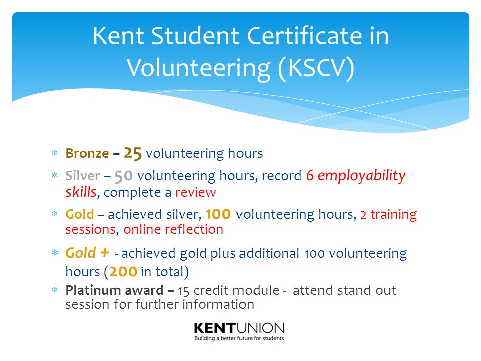  Bronze – 25 volunteering hours  Silver – 50 volunteering hours, record 6 employability skills, complete a review  Gold – achieved silver, 100 volu