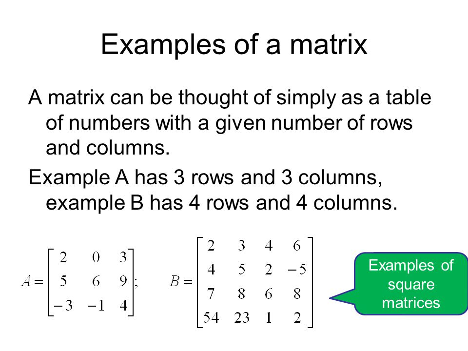 Matrix dimensions summary Dimensions are always number of rows first and then number of columns second.