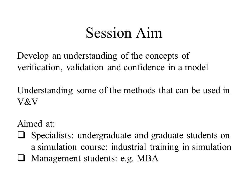 Session Outline  Define V&V  V&V in the modelling life-cycle  Difficulties in performing V&V  Impossibility of validating a model.