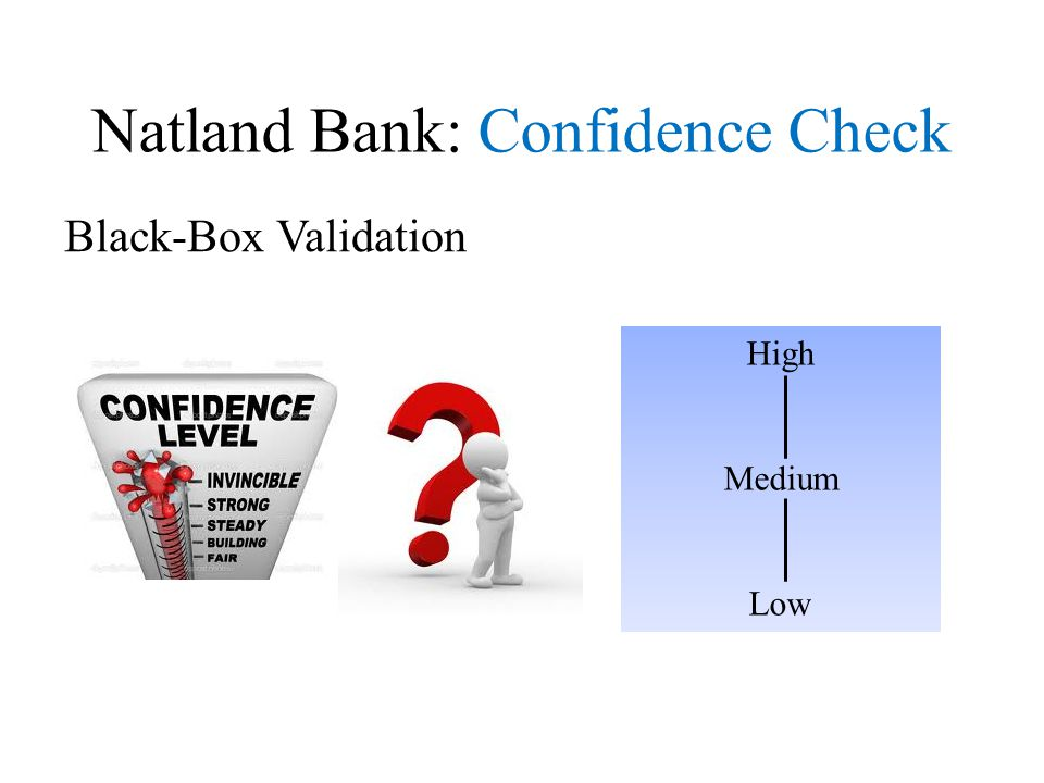 Natland Bank: Confidence Check Black-Box Validation High Medium Low