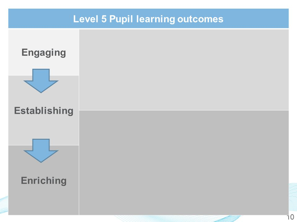 10 Level 5 Pupil learning outcomes Engaging Establishing Enriching