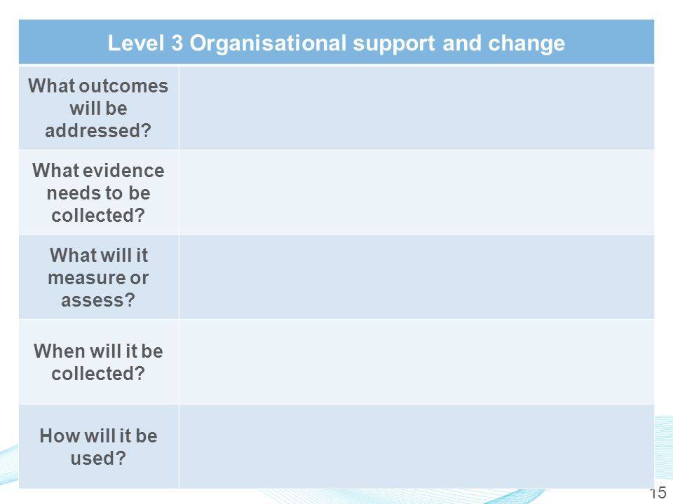 15 Level 3 Organisational support and change What outcomes will be addressed.