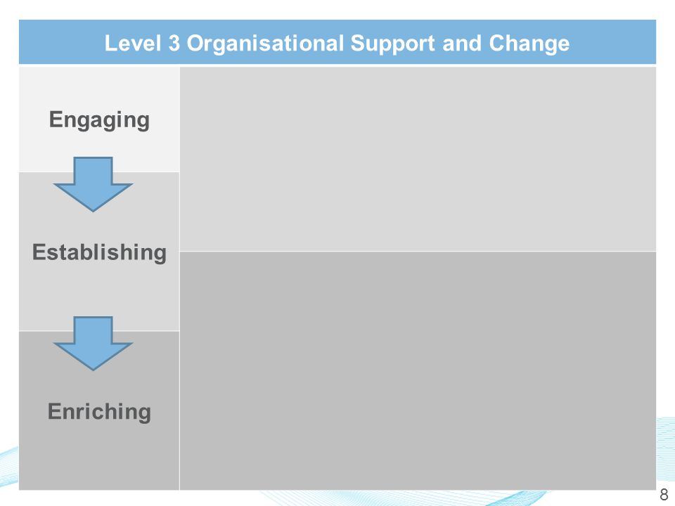 8 Level 3 Organisational Support and Change Engaging Establishing Enriching