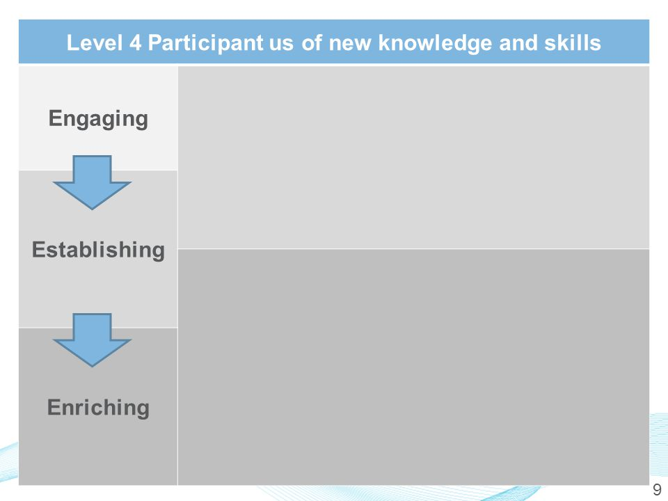 9 Level 4 Participant us of new knowledge and skills Engaging Establishing Enriching