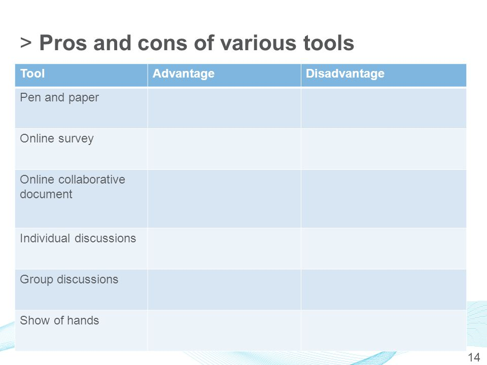 >Pros and cons of various tools ToolAdvantageDisadvantage Pen and paper Online survey Online collaborative document Individual discussions Group discu
