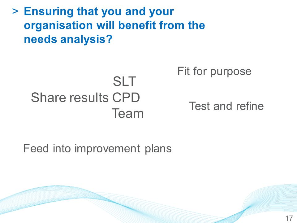 17 >Ensuring that you and your organisation will benefit from the needs analysis? SLT Share results CPD Team Feed into improvement plans Fit for purpo