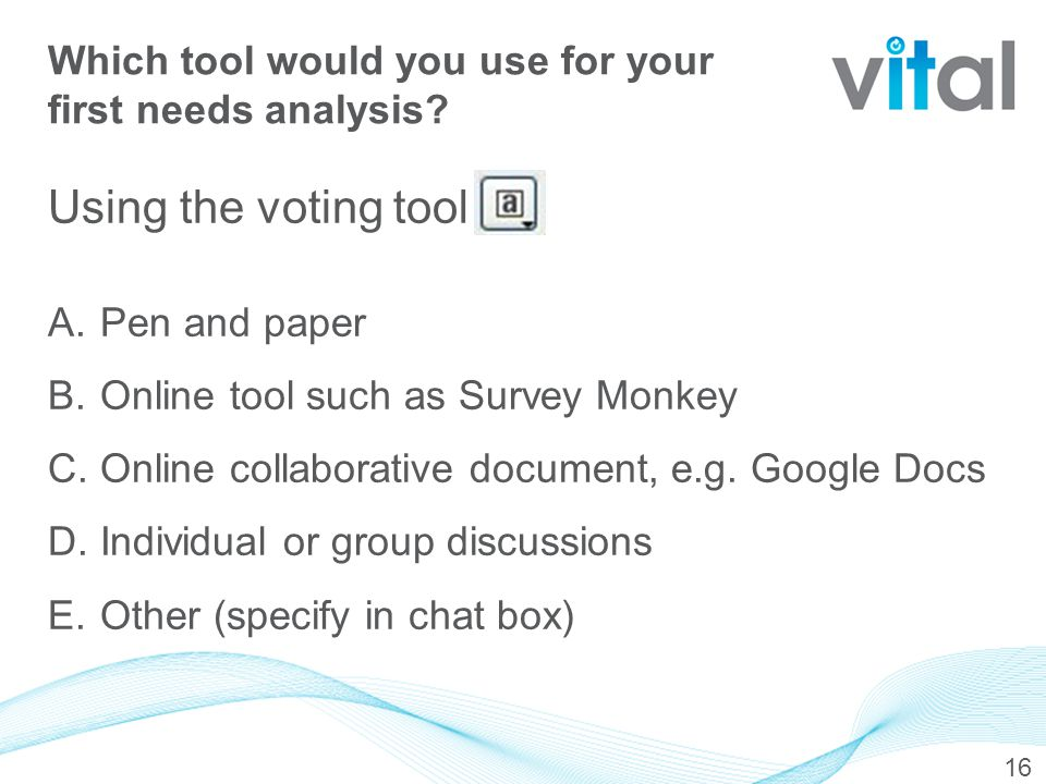 Using the voting tool A. Pen and paper B. Online tool such as Survey Monkey C.
