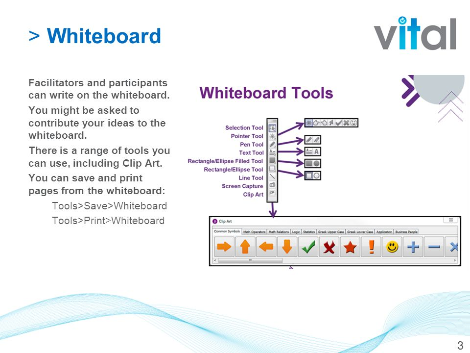 >Whiteboard Facilitators and participants can write on the whiteboard.