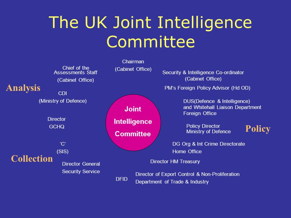 Chairman (Cabinet Office) DUS(Defence & Intelligence) and Whitehall Liaison Department Foreign Office Director General Security Service Chief of the Assessments Staff (Cabinet Office) 'C' (SIS) Director HM Treasury Director GCHQ Policy Director Ministry of Defence DFID CDI (Ministry of Defence) Joint Intelligence Committee Director of Export Control & Non-Proliferation Department of Trade & Industry DG Org & Int Crime Directorate Home Office The UK Joint Intelligence Committee PM's Foreign Policy Advisor (Hd OD) Security & Intelligence Co-ordinator (Cabinet Office) Policy Collection Analysis