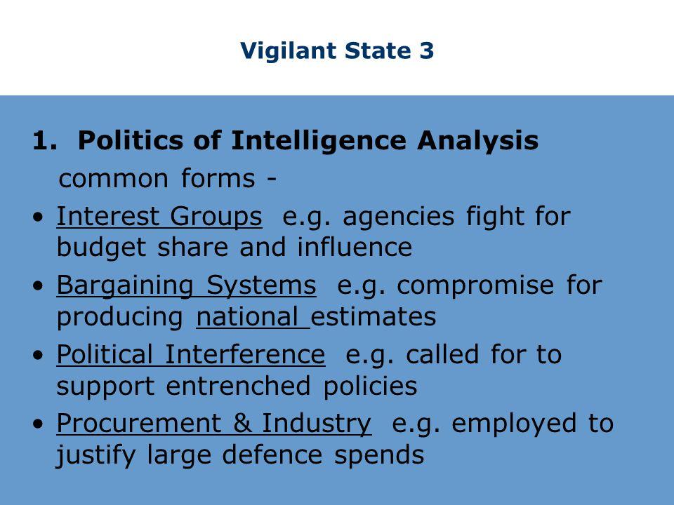 Vigilant State 3 1. Politics of Intelligence Analysis common forms - Interest Groups e.g.