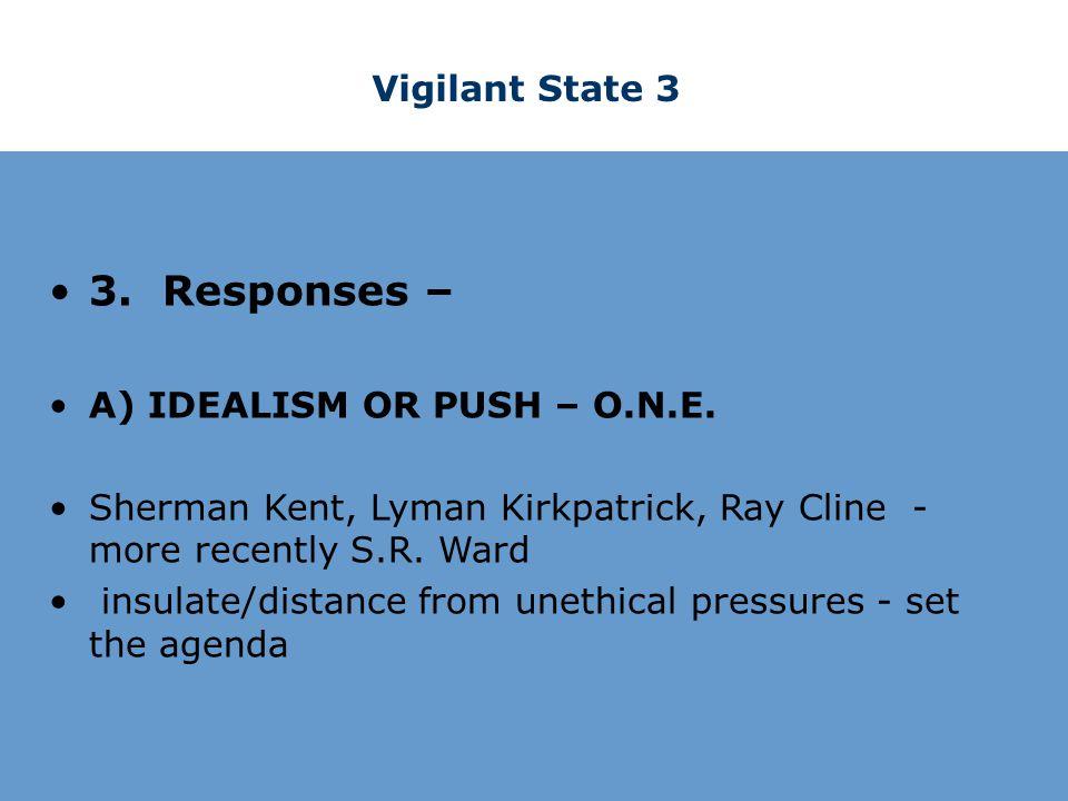 Vigilant State 3 3. Responses – A) IDEALISM OR PUSH – O.N.E.