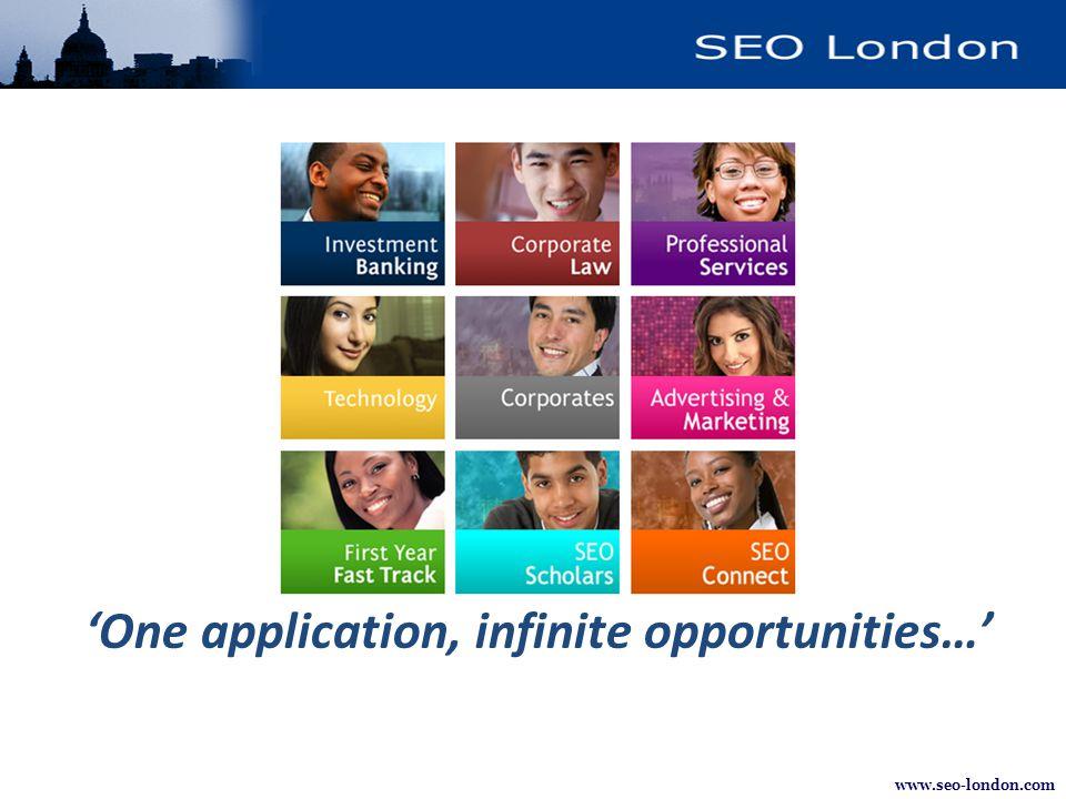 www.seo-london.com 'One application, infinite opportunities…'