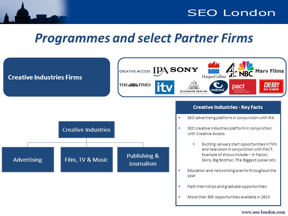 www.seo-london.com Programmes and select Partner Firms Creative Industries - Key Facts SEO advertising platform in conjunction with IPA SEO creative i