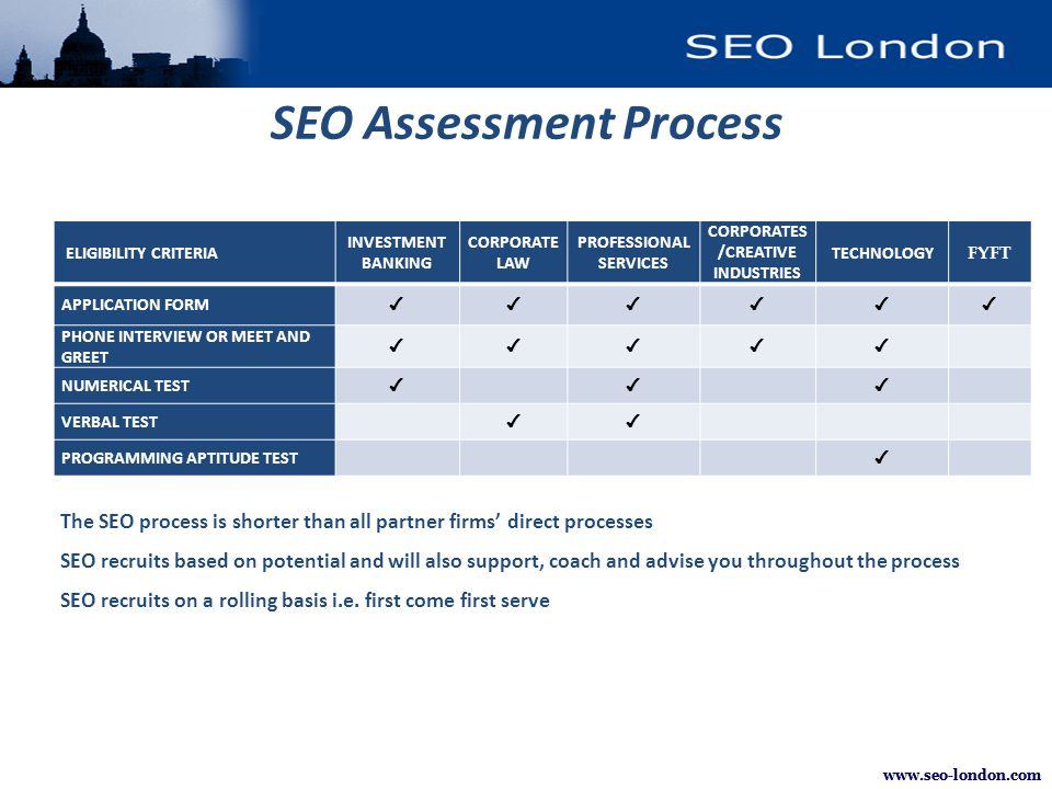 www.seo-london.com ELIGIBILITY CRITERIA INVESTMENT BANKING CORPORATE LAW PROFESSIONAL SERVICES CORPORATES /CREATIVE INDUSTRIES TECHNOLOGY FYFT APPLICATION FORM ✔✔✔✔✔✔ PHONE INTERVIEW OR MEET AND GREET ✔✔✔✔✔ NUMERICAL TEST ✔✔✔ VERBAL TEST ✔✔ PROGRAMMING APTITUDE TEST ✔ SEO Assessment Process The SEO process is shorter than all partner firms' direct processes SEO recruits based on potential and will also support, coach and advise you throughout the process SEO recruits on a rolling basis i.e.