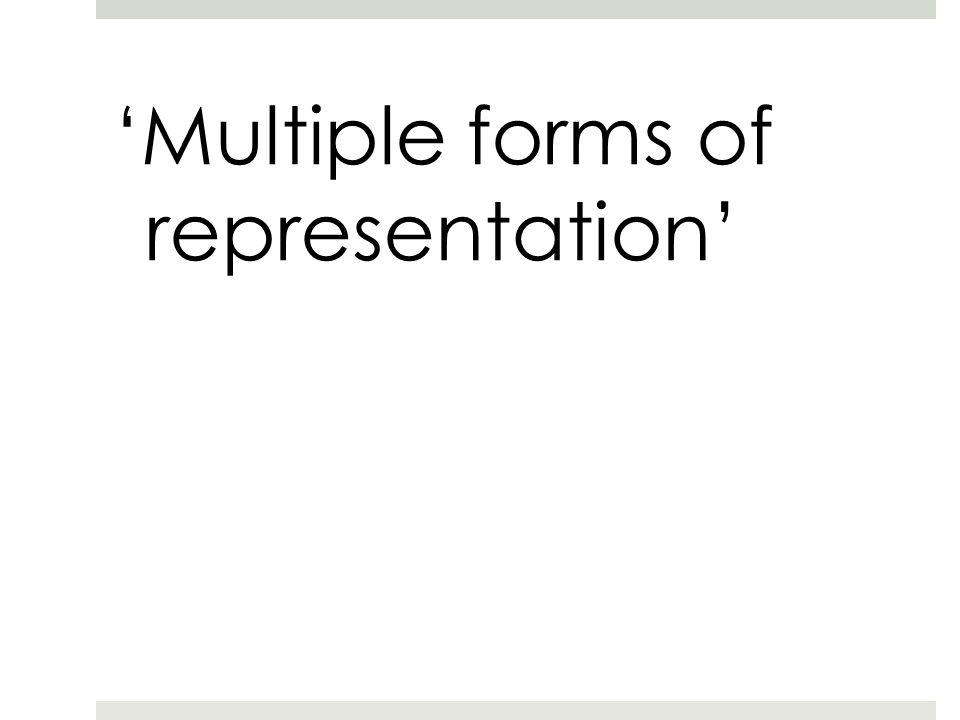 'Multiple forms of representation'