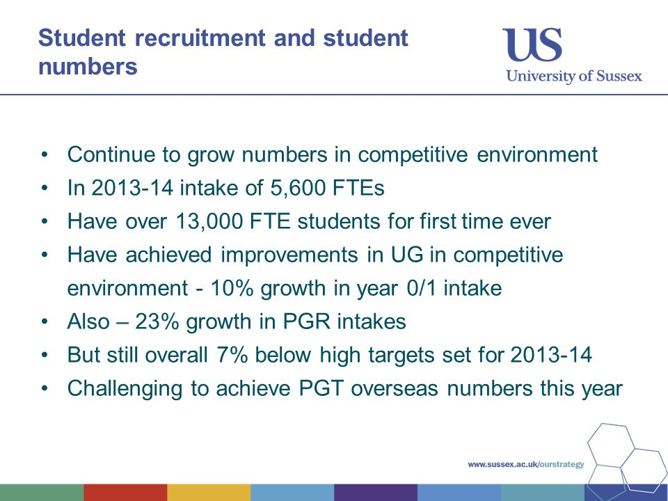 Student recruitment and student numbers Continue to grow numbers in competitive environment In 2013-14 intake of 5,600 FTEs Have over 13,000 FTE students for first time ever Have achieved improvements in UG in competitive environment - 10% growth in year 0/1 intake Also – 23% growth in PGR intakes But still overall 7% below high targets set for 2013-14 Challenging to achieve PGT overseas numbers this year