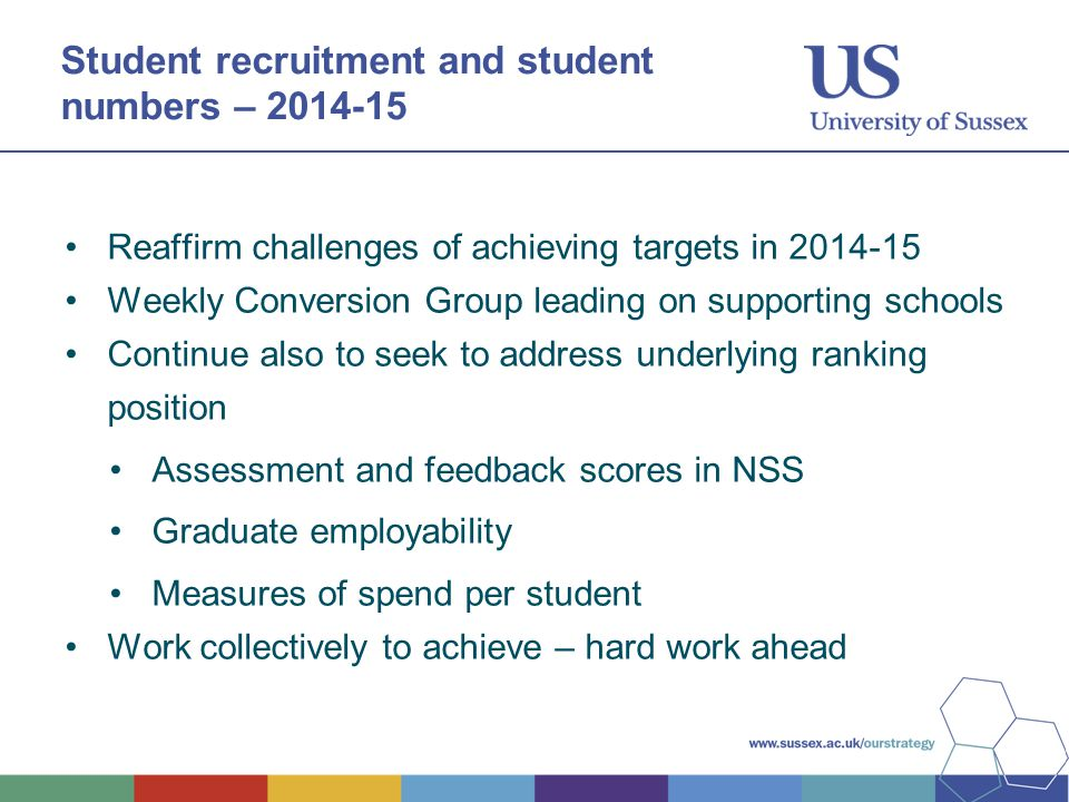 Student recruitment and student numbers – 2014-15 Reaffirm challenges of achieving targets in 2014-15 Weekly Conversion Group leading on supporting schools Continue also to seek to address underlying ranking position Assessment and feedback scores in NSS Graduate employability Measures of spend per student Work collectively to achieve – hard work ahead