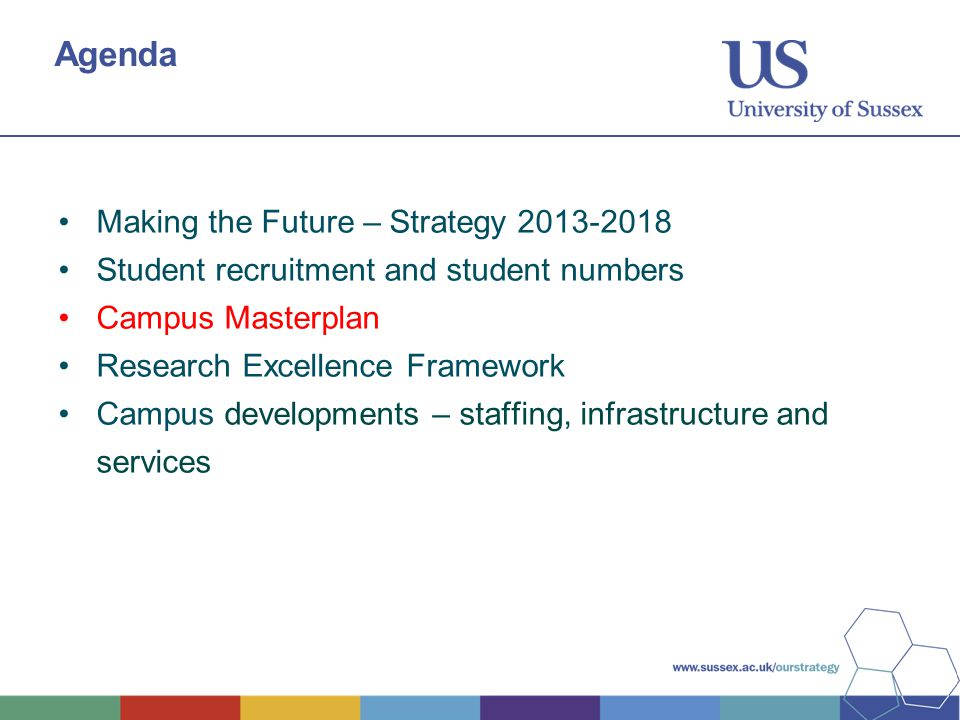 Agenda Making the Future – Strategy 2013-2018 Student recruitment and student numbers Campus Masterplan Research Excellence Framework Campus developments – staffing, infrastructure and services