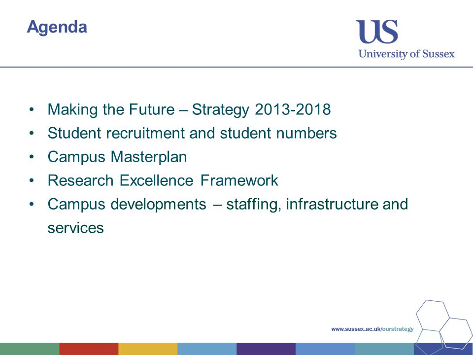 Agenda Making the Future – Strategy 2013-2018 Student recruitment and student numbers Campus Masterplan Research Excellence Framework Campus developme