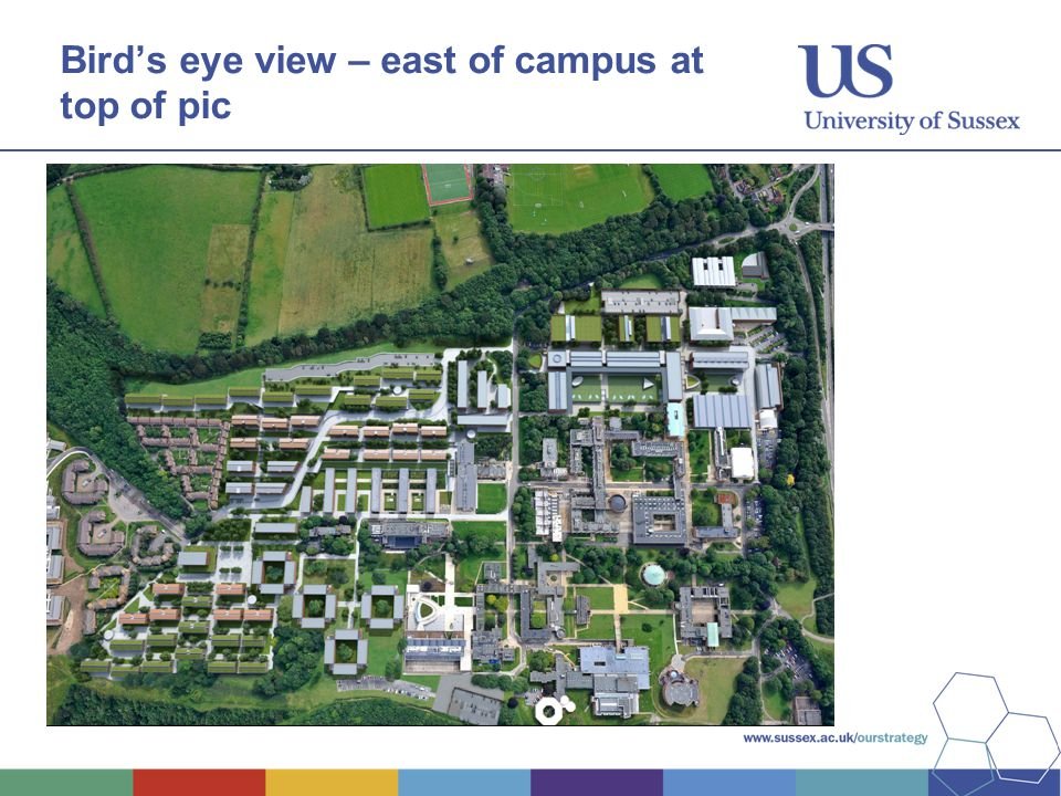 Bird's eye view – east of campus at top of pic