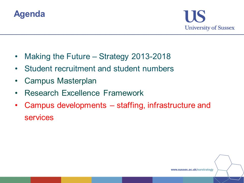 Agenda Making the Future – Strategy Student recruitment and student numbers Campus Masterplan Research Excellence Framework Campus developments – staffing, infrastructure and services