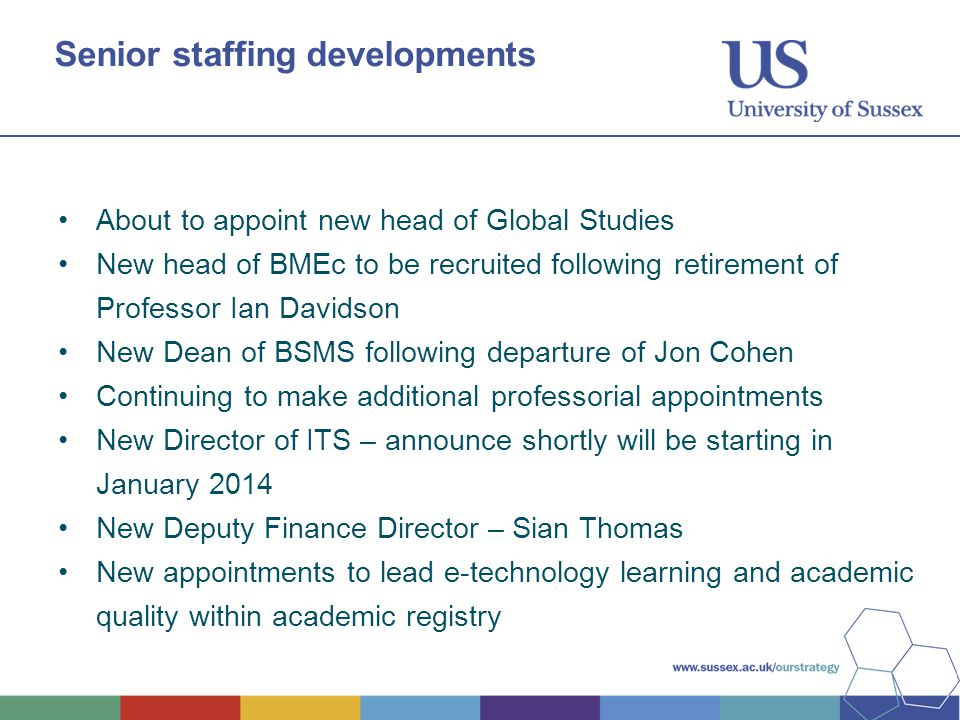 Senior staffing developments About to appoint new head of Global Studies New head of BMEc to be recruited following retirement of Professor Ian Davidson New Dean of BSMS following departure of Jon Cohen Continuing to make additional professorial appointments New Director of ITS – announce shortly will be starting in January 2014 New Deputy Finance Director – Sian Thomas New appointments to lead e-technology learning and academic quality within academic registry