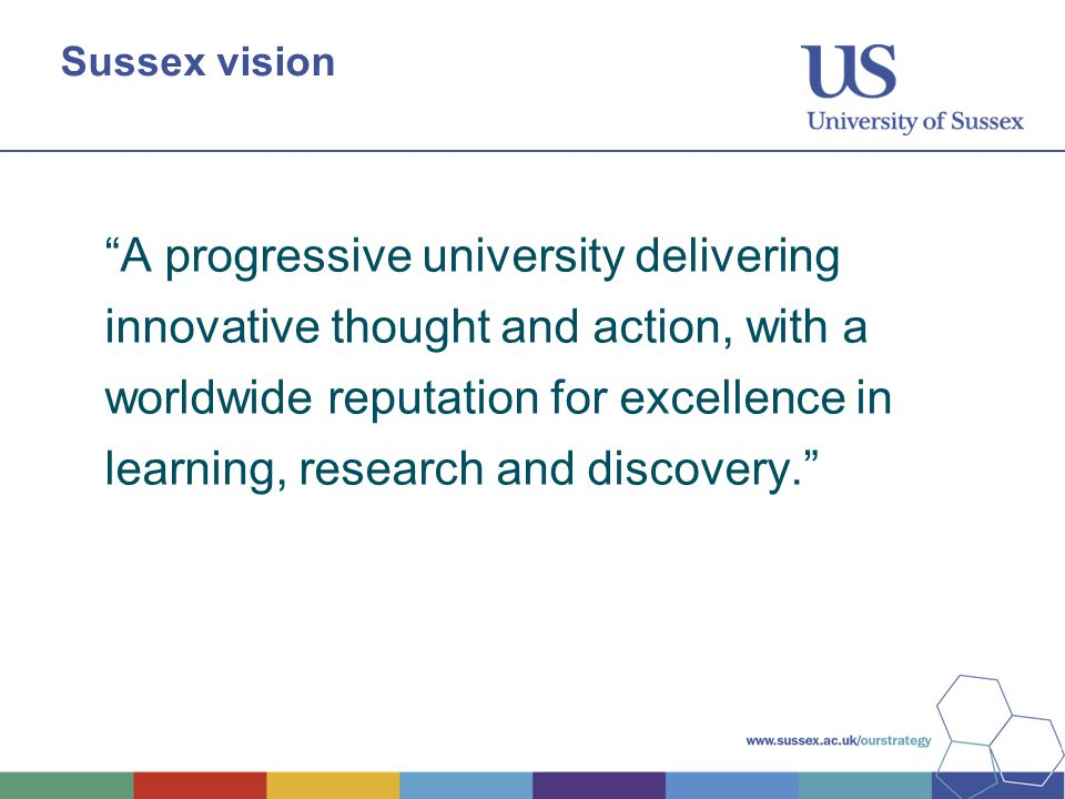"""Sussex vision """"A progressive university delivering innovative thought and action, with a worldwide reputation for excellence in learning, research and"""