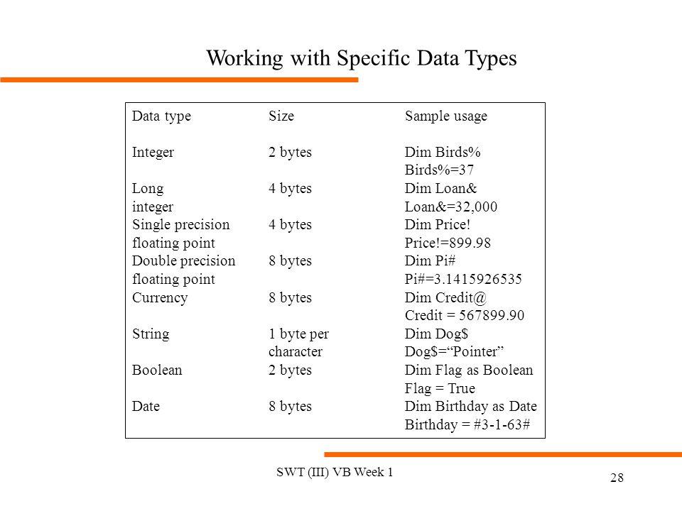 SWT (III) VB Week 1 28 Working with Specific Data Types Data typeSizeSample usage Integer2 bytesDim Birds% Birds%=37 Long4 bytesDim Loan& integerLoan&=32,000 Single precision4 bytesDim Price.