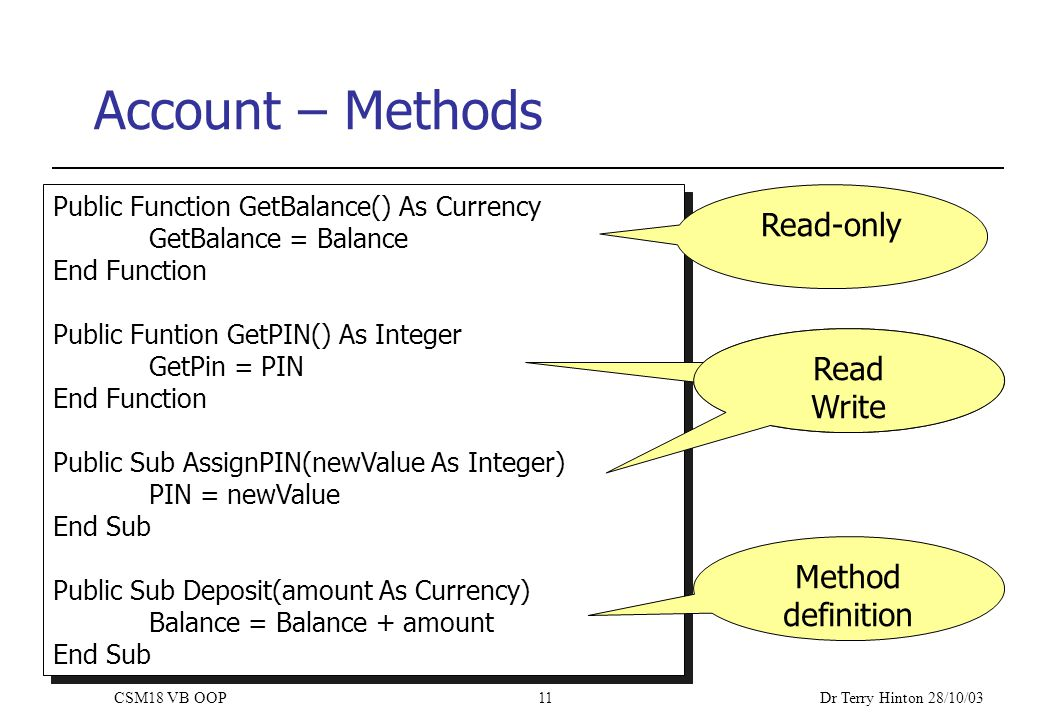 Dr Terry Hinton 28/10/03 CSM18 VB OOP11 Account – Methods Public Function GetBalance() As Currency GetBalance = Balance End Function Public Funtion GetPIN() As Integer GetPin = PIN End Function Public Sub AssignPIN(newValue As Integer) PIN = newValue End Sub Public Sub Deposit(amount As Currency) Balance = Balance + amount End Sub Public Function GetBalance() As Currency GetBalance = Balance End Function Public Funtion GetPIN() As Integer GetPin = PIN End Function Public Sub AssignPIN(newValue As Integer) PIN = newValue End Sub Public Sub Deposit(amount As Currency) Balance = Balance + amount End Sub Read-only Read-only property Read Write Method definition