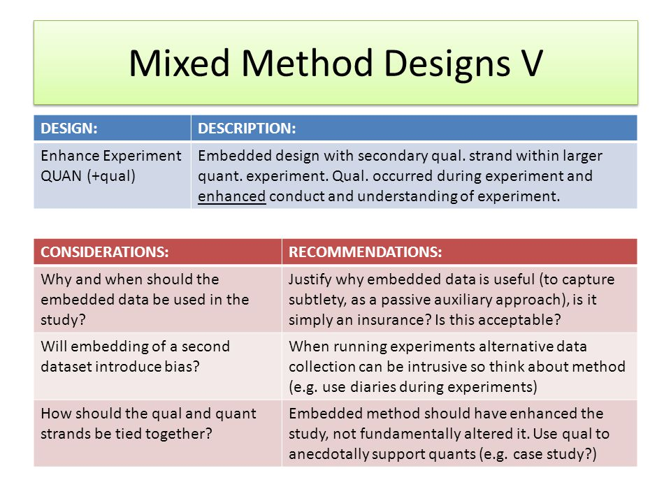 Mixed Method Designs V DESIGN:DESCRIPTION: Enhance Experiment QUAN (+qual) Embedded design with secondary qual.