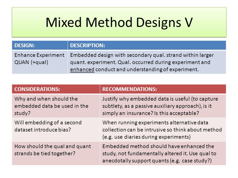 Mixed Method Designs V DESIGN:DESCRIPTION: Enhance Experiment QUAN (+qual) Embedded design with secondary qual. strand within larger quant. experiment
