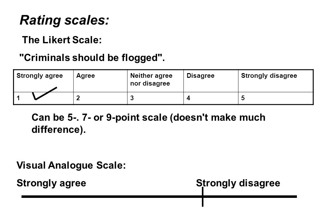 Rating scales: The Likert Scale: Criminals should be flogged .