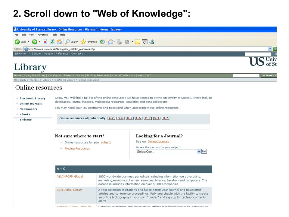 2. Scroll down to Web of Knowledge :