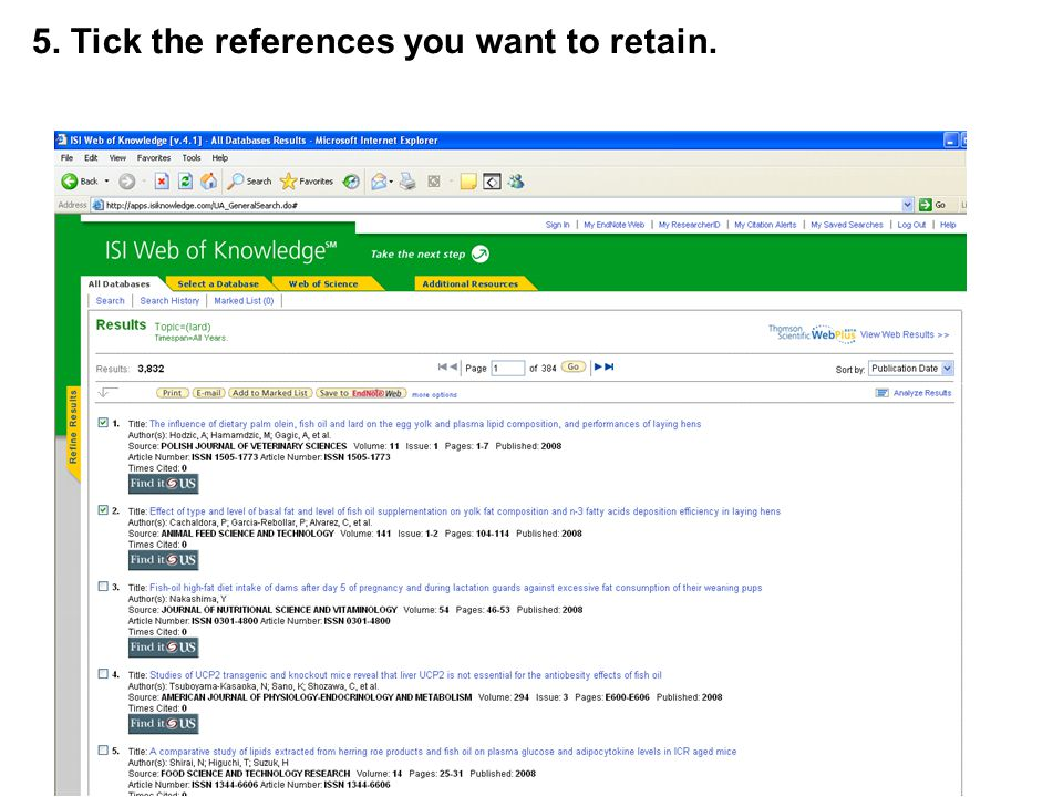 5. Tick the references you want to retain.