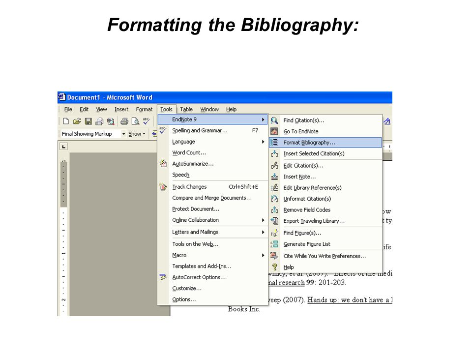 Formatting the Bibliography: You can format the references in different styles by choosing 'Format Bibliography' from the Endnote menu.
