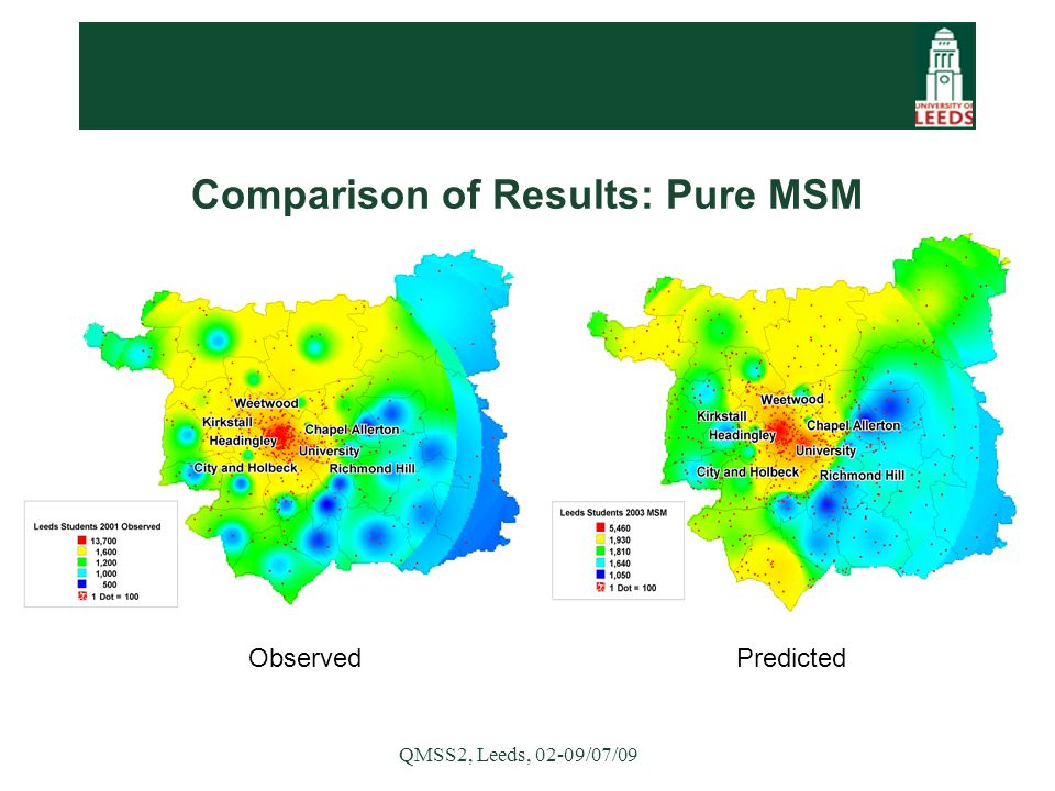 QMSS2, Leeds, 02-09/07/09 Observed Predicted Comparison of Results: Pure MSM