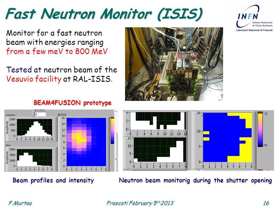 F.Murtas16 Frascati February 5 th 2013 Fast Neutron Monitor (ISIS) Monitor for a fast neutron beam with energies ranging from a few meV to 800 MeV Tested at neutron beam of the Vesuvio facility at RAL-ISIS.