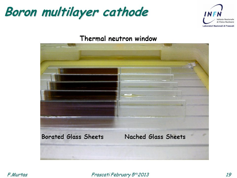 F.Murtas19 Frascati February 5 th 2013 Boron multilayer cathode Borated Glass SheetsNached Glass Sheets Thermal neutron window