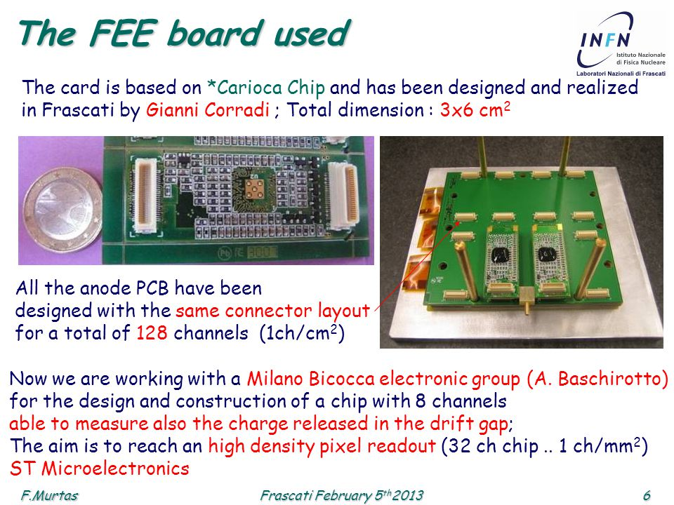 F.Murtas6 Frascati February 5 th 2013 The FEE board used The card is based on *Carioca Chip and has been designed and realized in Frascati by Gianni Corradi ; Total dimension : 3x6 cm 2 All the anode PCB have been designed with the same connector layout for a total of 128 channels (1ch/cm 2 ) Now we are working with a Milano Bicocca electronic group (A.